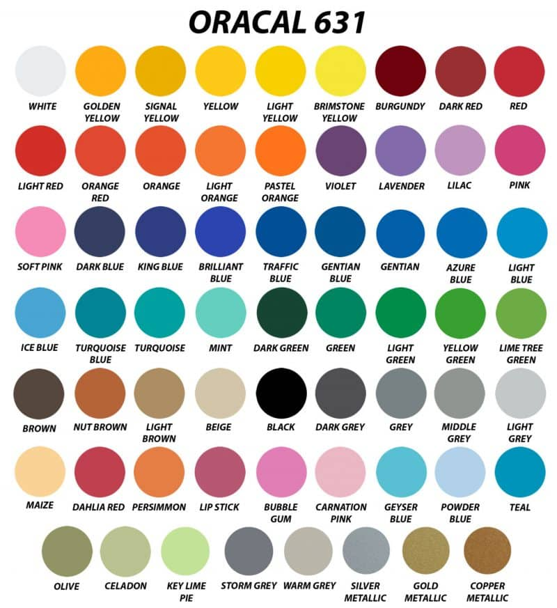 Array of all of the colors Oracal 631 is available in