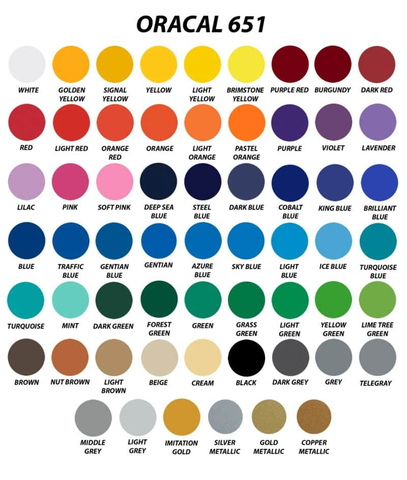 Array of all of the colors Oracal 651 is available in